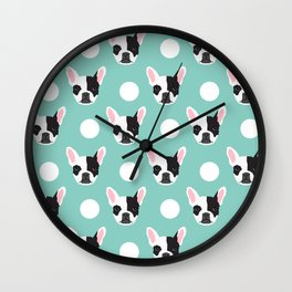 French Bulldog pattern polka dogs dog head funny dog meme cute gift for a dog lover frenchie owner Wall Clock