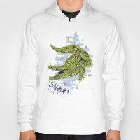 crocodile Hoodies featuring Crocodile by Sam Jones Illustration