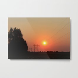 Kansas Sunset with Power Line and Poles Silhouettes Metal Print
