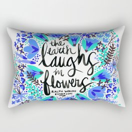 The Earth Laughs in Flowers – Turquoise & Blue Rectangular Pillow