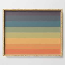 Colorful Retro Striped Rainbow Serving Tray