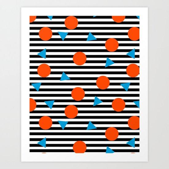 Yadda Yadda - memphis lines stripes dots triangles geometric abstract minimal print pattern wacka yo Art Print