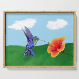 The very hungry hummingbird Serving Tray
