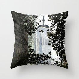 Seeing WTC1 through the Trees Throw Pillow