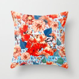 Geometric Flowers and Bees Throw Pillow