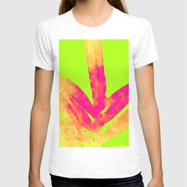 Green and Ultra Bright Coral Fern T-shirt