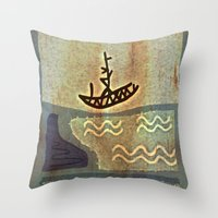 boat Throw Pillows featuring Boat by Menchulica