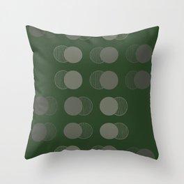 Fading Circles - Green/Grey Throw Pillow