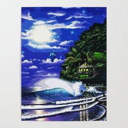 Tardis Art And The Moon Shine Poster