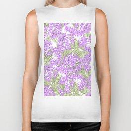 Botanical violet lavender green floral pattern Biker Tank