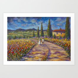 "Tuscany Painting on Canvas 37.8"" Landscape Painting Italy Country Art Impressionist Painting Tuscan Art Print"