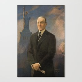 Woodrow Wilson with Statue of Liberty in background Canvas Print