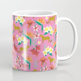 Exotic Flowers and Cheetahs Pink Coffee Mug