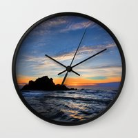 big sur Wall Clocks featuring Big Sur sunset  by davehare