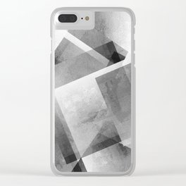 Black and Metallic Silver - Digital Geometric Texture Clear iPhone Case