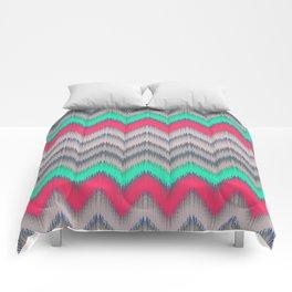 Modern turquoise neon pink gray geometrical ikat Comforters