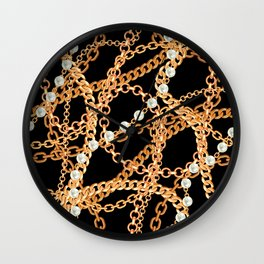 Wrapped in Luxury Gold Chains & Pearl Strands Noir Wall Clock