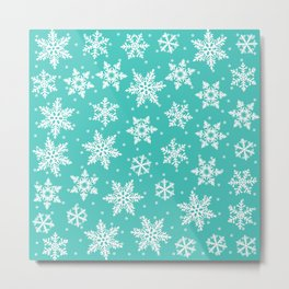 Blue Snowflakes Christmas Pattern Metal Print