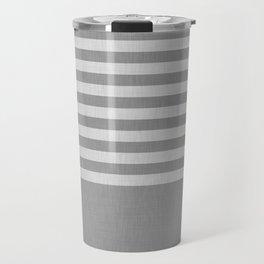 Gray color block and stripes Travel Mug