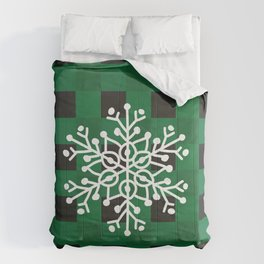 Happy Winter White Snowflake Merry Christmas With Green Plaid Comforters