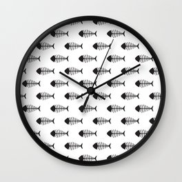Black & White Fish Skeleton Pattern Design Wall Clock