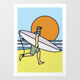 Happy Surfing Times Art Print