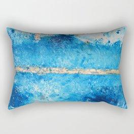 Rainy Day: a pretty minimal abstract mixed media piece in blue & gold by Alyssa Hamilton Art Rectangular Pillow