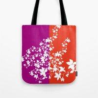 climbing Tote Bags featuring Climbing Flowers by Mari Biro