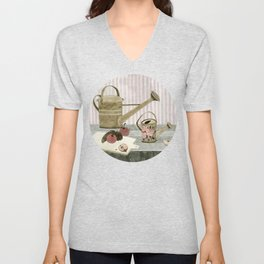 Watering Cans and Apples Unisex V-Neck