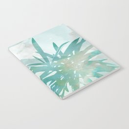 Aqua Blue Watercolor Palm Leaves Painting Notebook