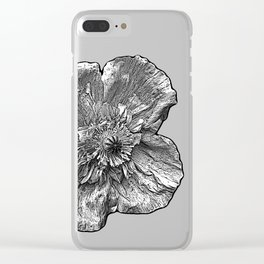 Greyscale transparent poppies on orange-pink-red background Clear iPhone Case