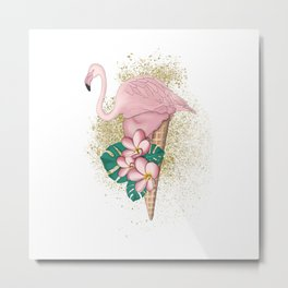 Flamingo Ice Cream With Gold Metal Print