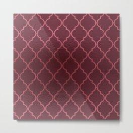 Elegant burgundy faux pink rose gold quatrefoil Metal Print