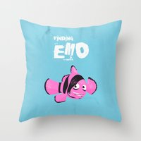 quibe Throw Pillows featuring Coupling up (accouplés) Finding Emo by quibe