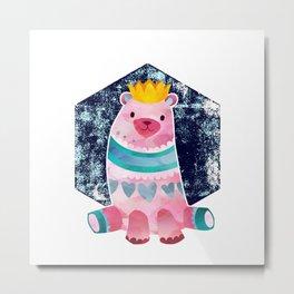 Cute Pink Bear Wearing a Crown Metal Print