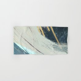 Karma: a bold abstract in blues and gold Hand & Bath Towel