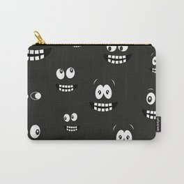 Glowing in the dark eyes vector halloween background design pattern Carry-All Pouch
