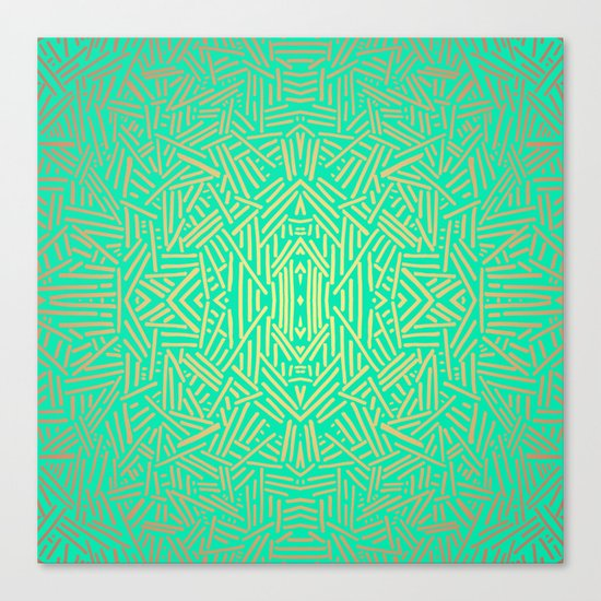 Radiate (Yellow/Ochre Teal- non metallic) Canvas Print