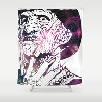 freddy krueger Shower Curtains featuring Galaxy Robert Englund Freddy Krueger by Cookie Cutter Cat Lady
