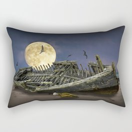 Moon and Wooden Shipwreck with Gulls Rectangular Pillow