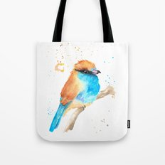 Blue and Gold Bird Tote Bag