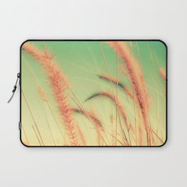 Swing into Spring (Reed Plants with Mint Green Sky Background) Laptop Sleeve