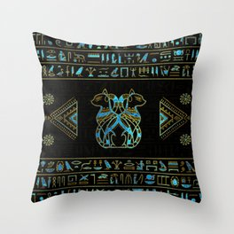 Egyptian Cats Gold and blue stained glass Throw Pillow