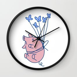 pig with balloons Wall Clock