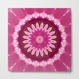 Mandala pink Blossom with flower of life Metal Print
