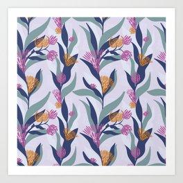 Delicate trailing floral design on a soft mauve base Art Print