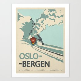 Oslo-Bergen train ride, Norway, Scandinavia, Travel poster Art Print