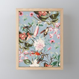 Hummingbird in vintage bloom Framed Mini Art Print