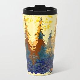Spruce Trees Forest Browns-sage Green Modern Landscape Travel Mug