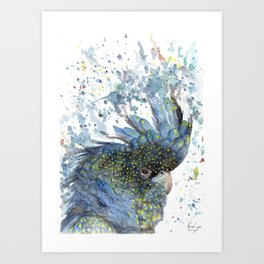 """Watercolor Painting of Picture """"Black Cockatoo"""" Art Print"""